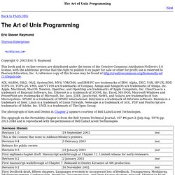 The Art of Unix Programming by Eric Raymond