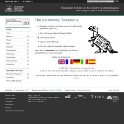 The Astronomy Thesaurus - RSAA - ANU