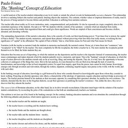 """The """"Banking"""" Concept of Education"""