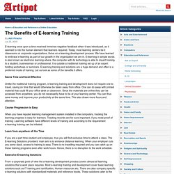 The Benefits of E-learning Training