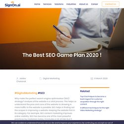 The Best SEO Game Plan 2020
