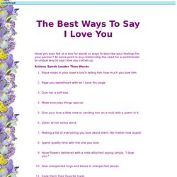 The Best Ways To Say I Love You