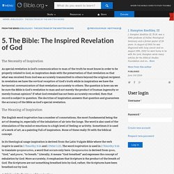 5. The Bible: The Inspired Revelation of God