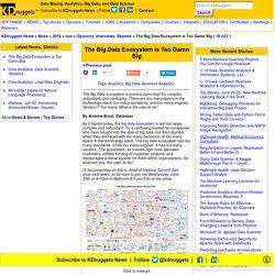 The Big Data Ecosystem is Too Damn Big