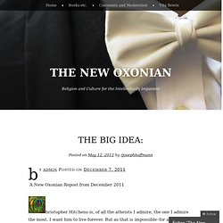 The Big Idea: « The New Oxonian