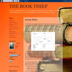 THE BOOK THIEF: Lesson Ideas