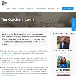 An Ideal Coaching Corner for Increasing Effectiveness of Leaders and Employees