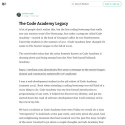 The Code Academy Legacy
