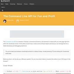 The Command Line API for Fun and Profit