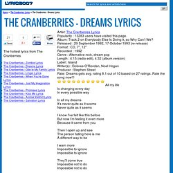 Cranberries - Dreams Lyrics. Artist: The Cranberries LyricsPopularity ...