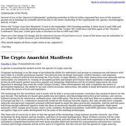 The Crypto Anarchist Manifesto