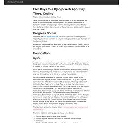 Five Days to a Django Web App: Day Three, Coding - The Daily Build