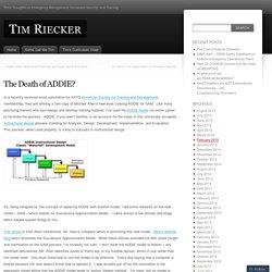 The Death of ADDIE?