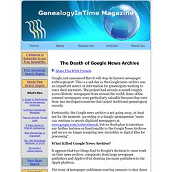 The Death of Google News Archive