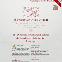 The Dictionary of Old English