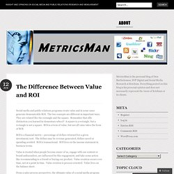 The Difference Between Value and ROI « MetricsMan