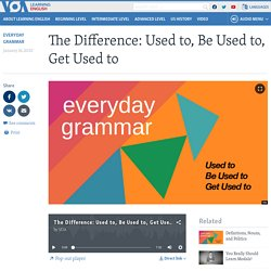 The Difference: Used to, Be Used to, Get Used to