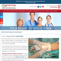 The Different Degrees of Burns