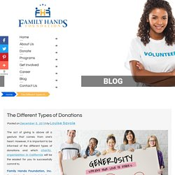 The Different Types of Donations