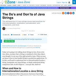 The Do's and Don'ts of Java Strings