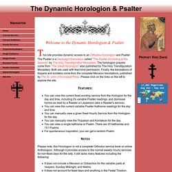 The Dynamic Horologion And Psalter
