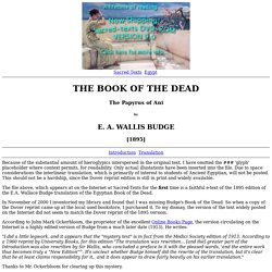 The Egyptian Book of the Dead Index