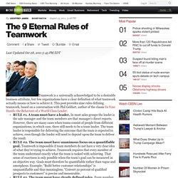 The 9 Eternal Rules of Teamwork