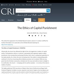 The Ethics of Capital Punishment