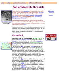 The fall of Nineveh Chronicle (ABC 3)