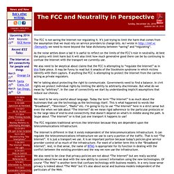 The FCC and Neutrality in Perspective