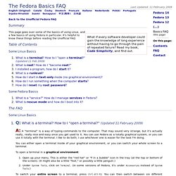 The Fedora Basics FAQ