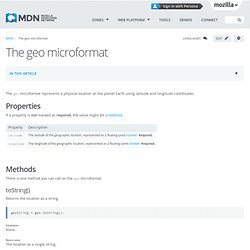 The geo microformat - MDC