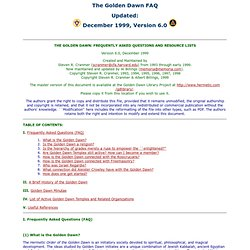 The Golden Dawn FAQ