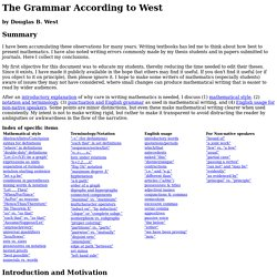 The Grammar According to West