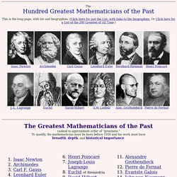 The 100 Greatest Mathematicians