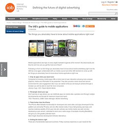 The IAB's guide to mobile applications
