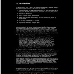 The Hacker's Ethics