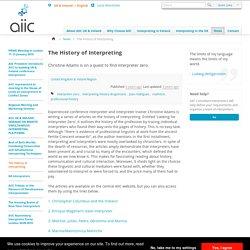 The History of Interpreting