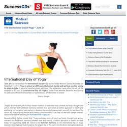 The International Day of Yoga - June 21 -