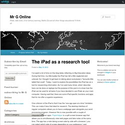 The iPad as a research tool