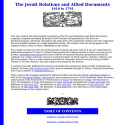 The Jesuit Relations: Index