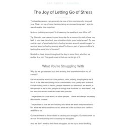 The Joy of Letting Go of Stress