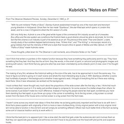Comments by Kubrick on Film