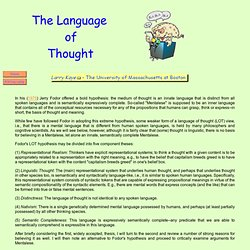 The Language of Thought: Entry