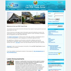 The Lao PDR Trade Portal