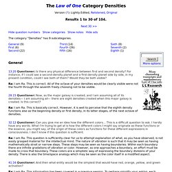 The Law of One Category Densities