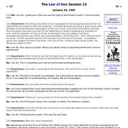 The Law of One Session 13