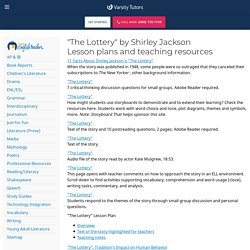 """""""The Lottery"""" lesson plans"""
