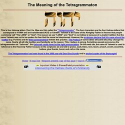 THE MEANING OF THE TETRAGRAMMATON