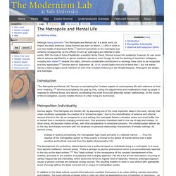 "An Analysis of ""the Metropolis and Mental Life """
